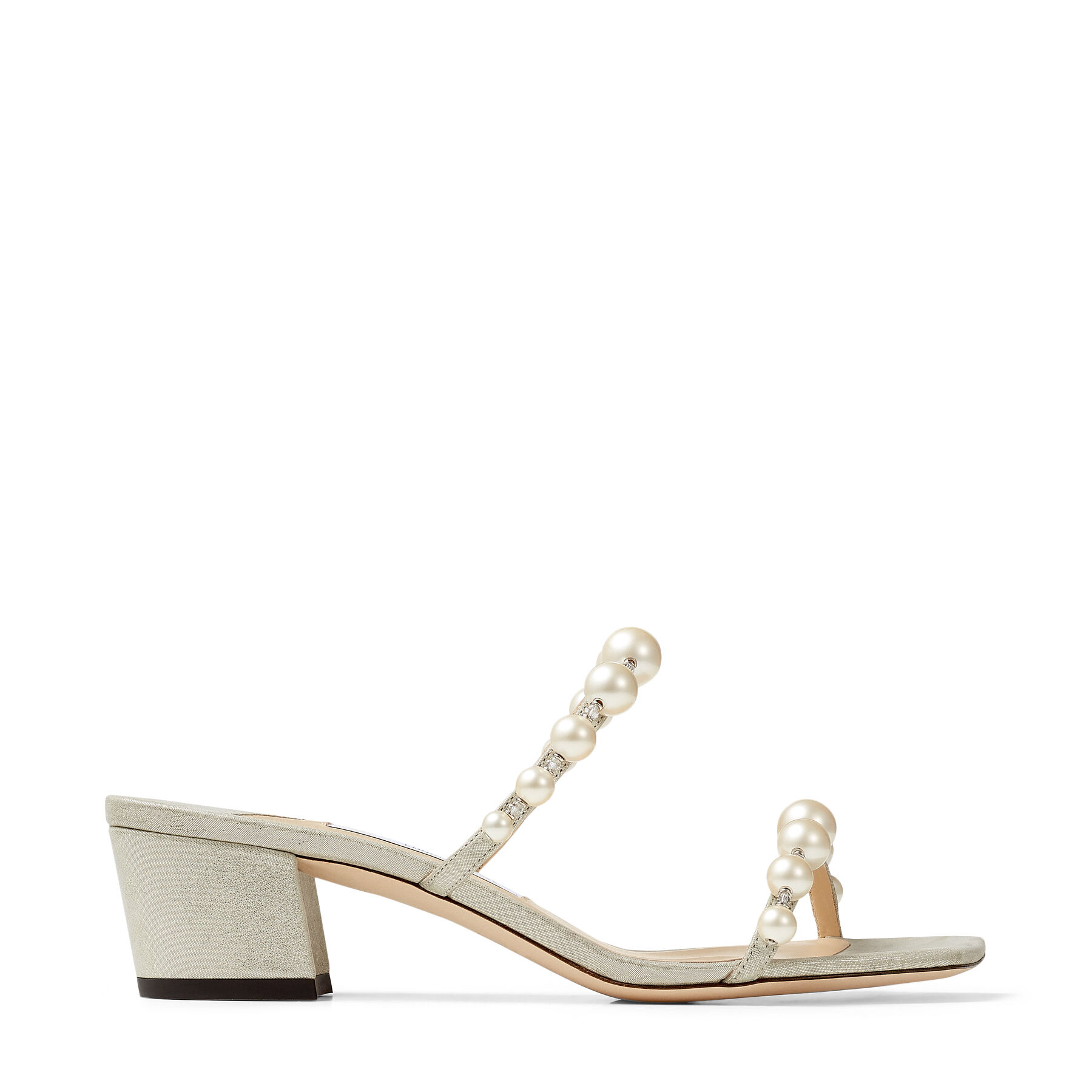 AMARA 45 - Champagne Shimmer Suede Mules with Pearl Embellishment