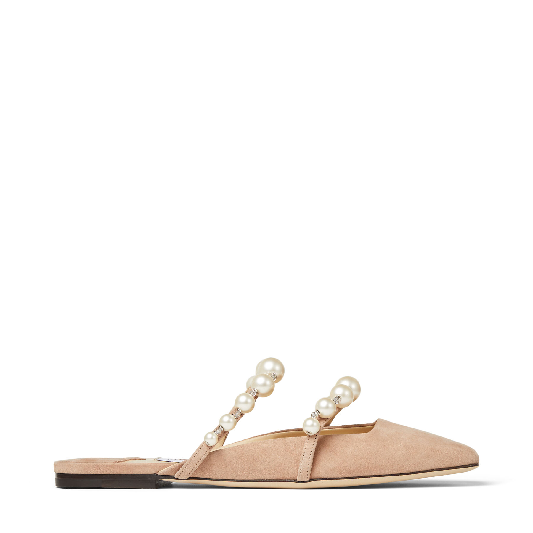 AMAYA FLAT - Ballet Pink Suede Flats with Pearl Embellishment