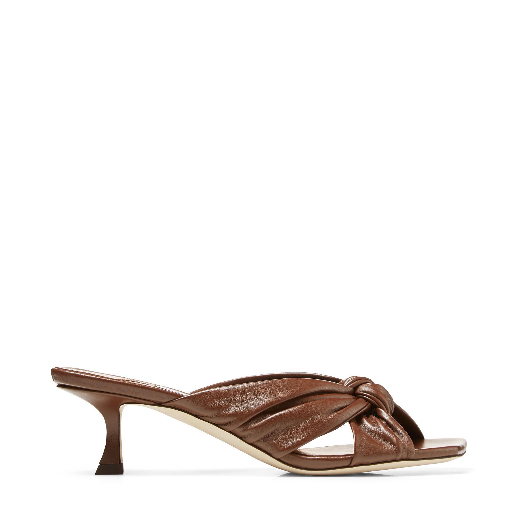 AVENUE 50 - Bronzed Nappa Leather Mules
