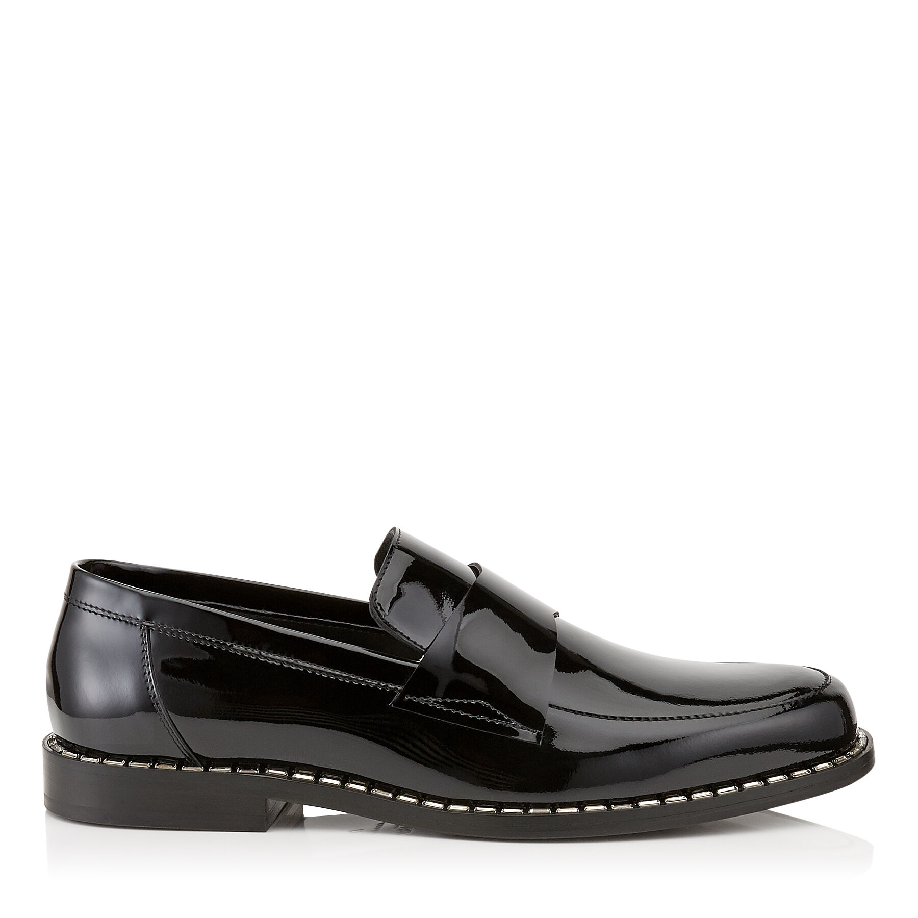 BANE - Black Patent Leather Loafers with Crystal Trim