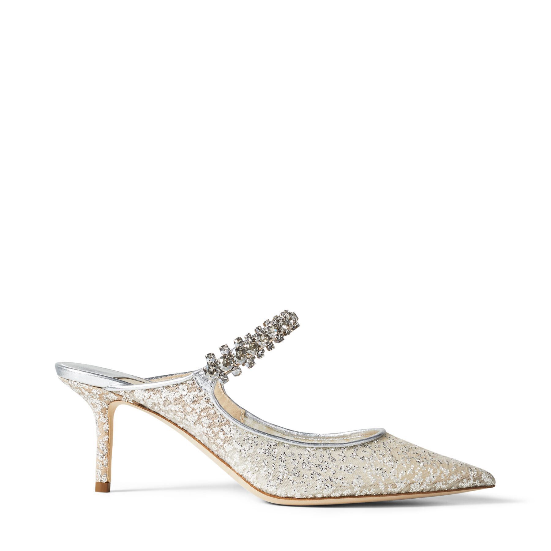 BING 65 - Silver Glitter Tulle Mules with Crystal Strap