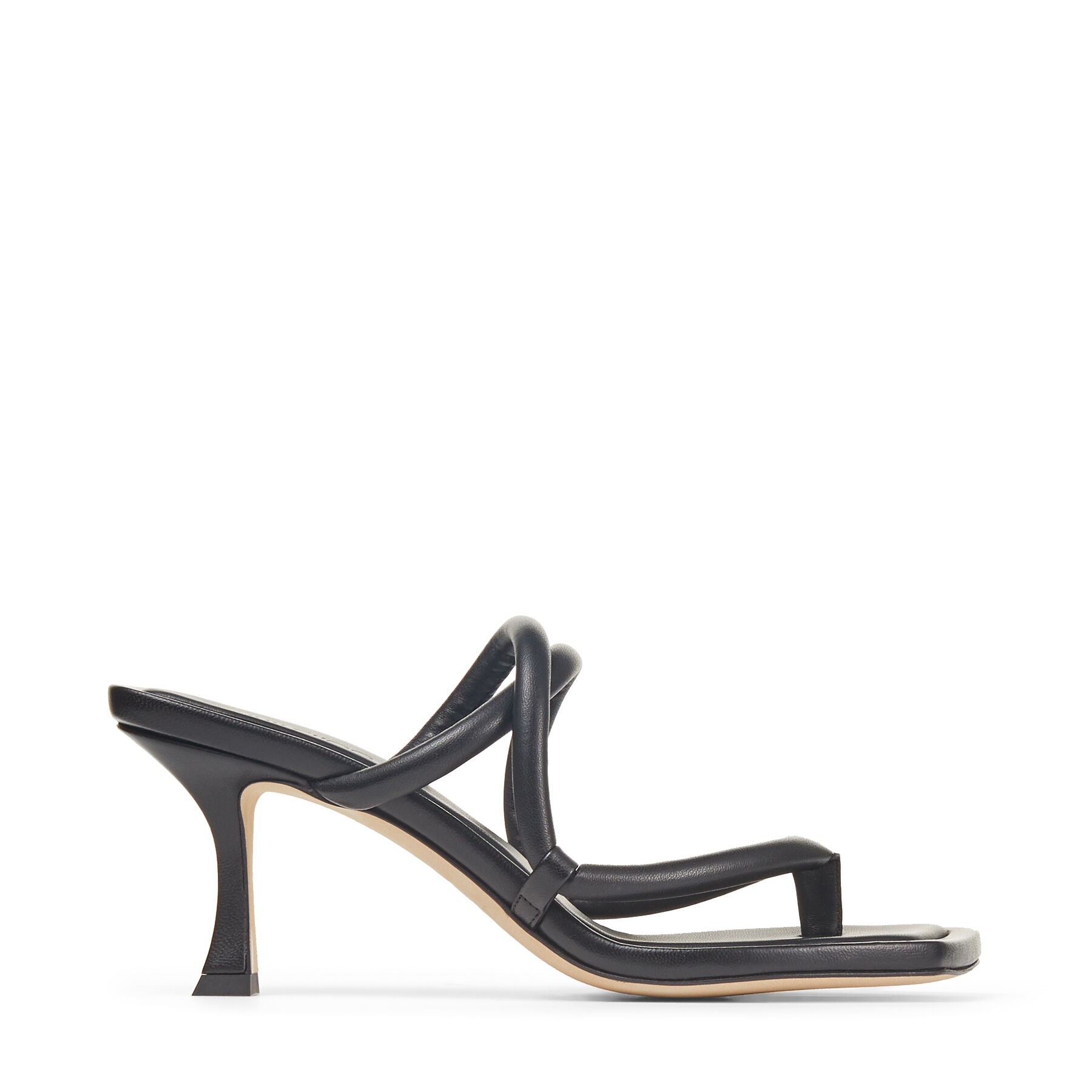 CAPE 70 - Black Nappa Leather Thong Mules