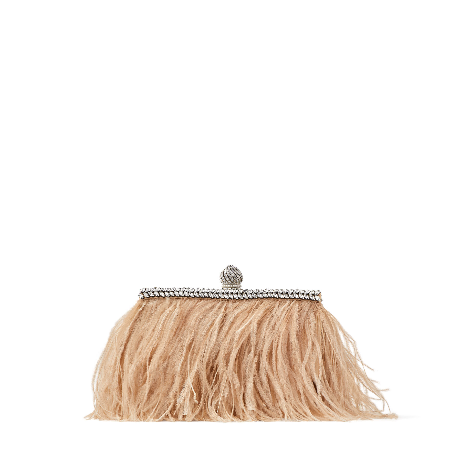 CELESTE/S - Sand Rose Satin Clutch Bag with Ostrich Feathers and Crystals