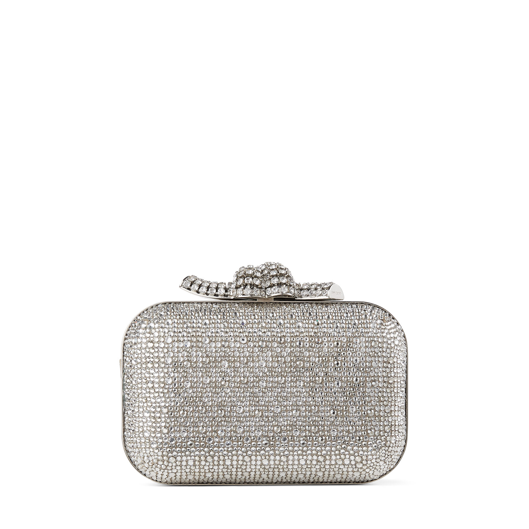 CLOUD - Nude Suede Clutch Bag with Crystals and Knot Clasp