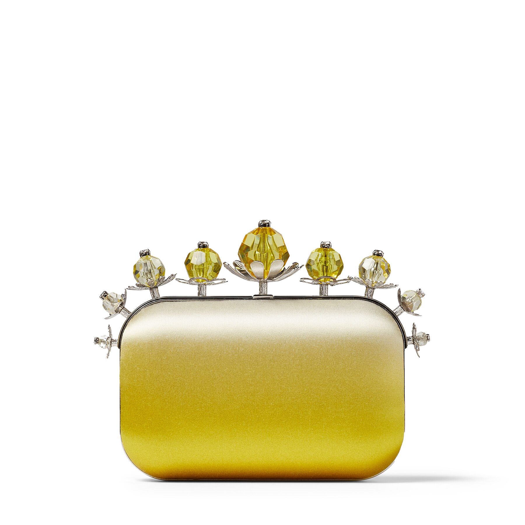 CLOUD - Sunbleached Degrade Satin Clutch Bag with Plexi and Crystal Flower Frame