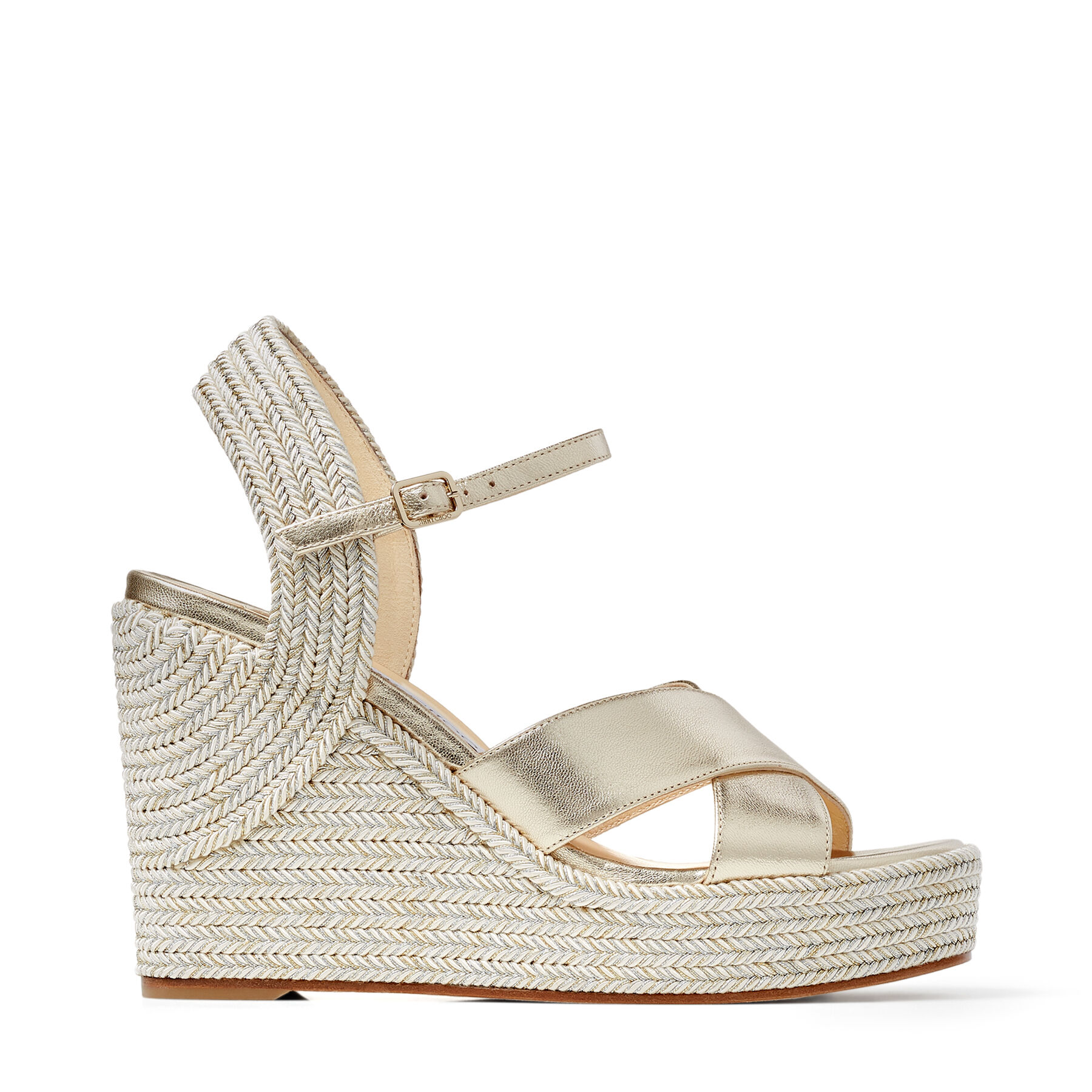 DELLENA 100 - Champagne Nappa Leather Wedge Sandals with Metallic Rope Thread