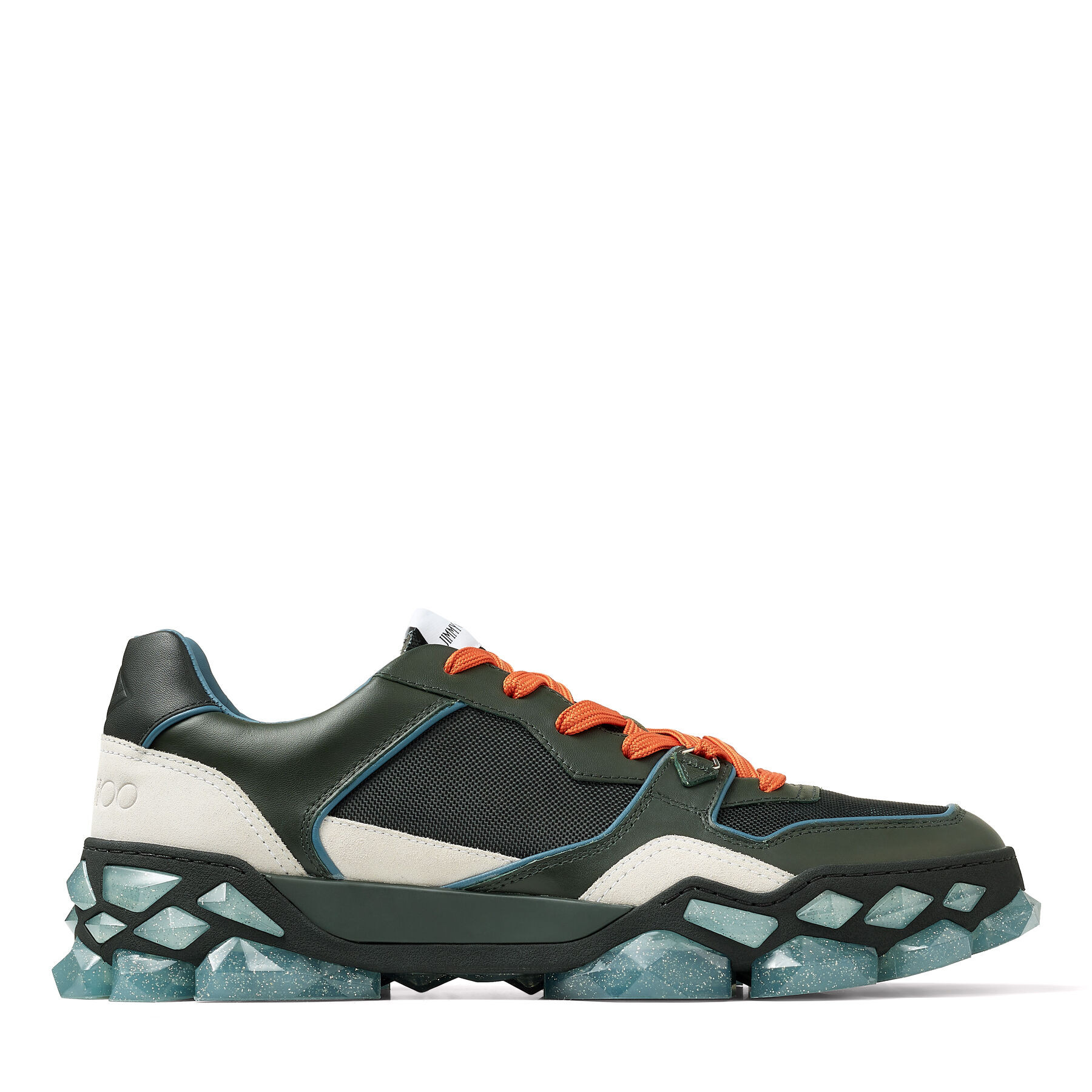 DIAMOND X TRAINER/M - Sea Green Mix Nylon and Leather Low Top Trainers