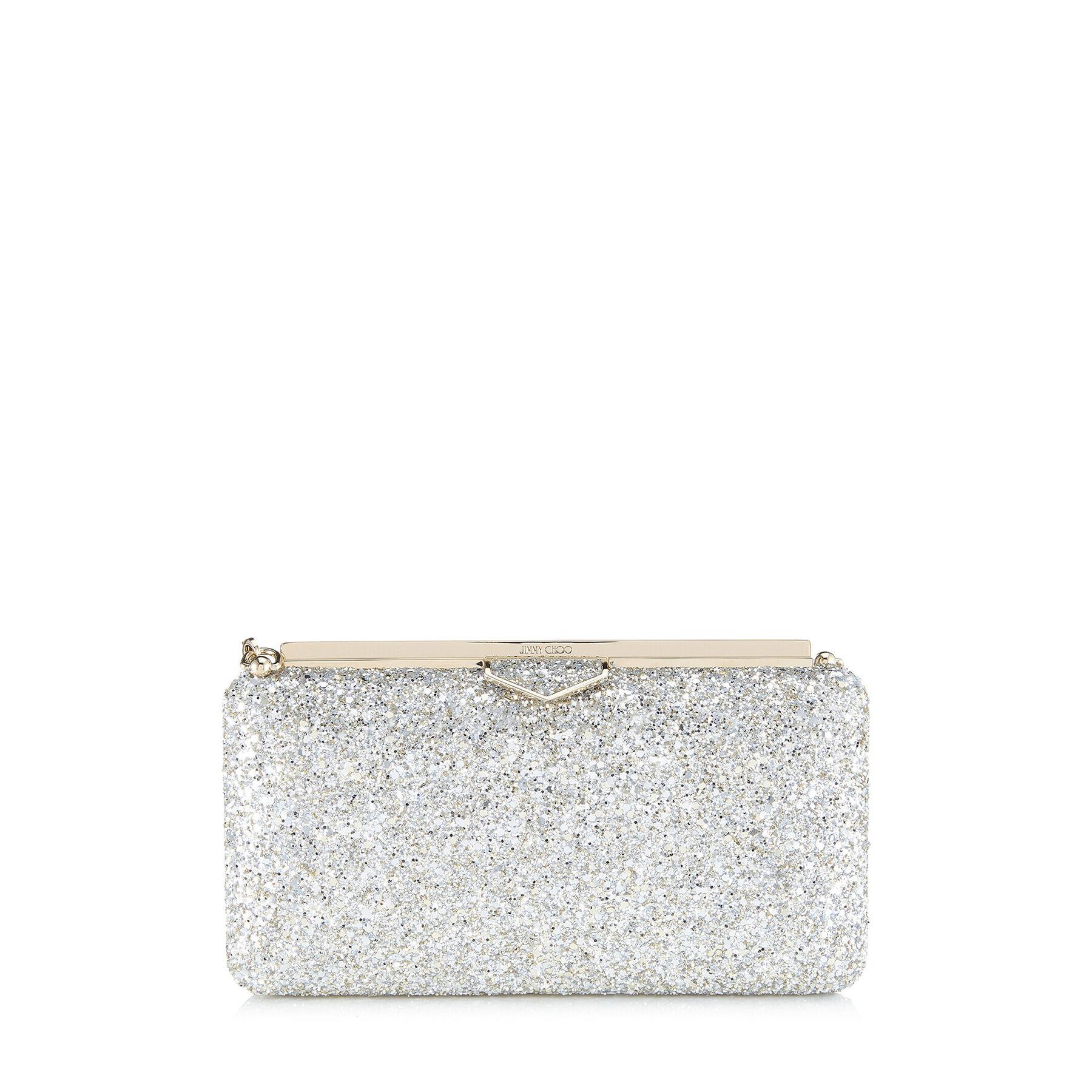 ELLIPSE - Champagne Coarse Glitter Fabric Clutch Bag