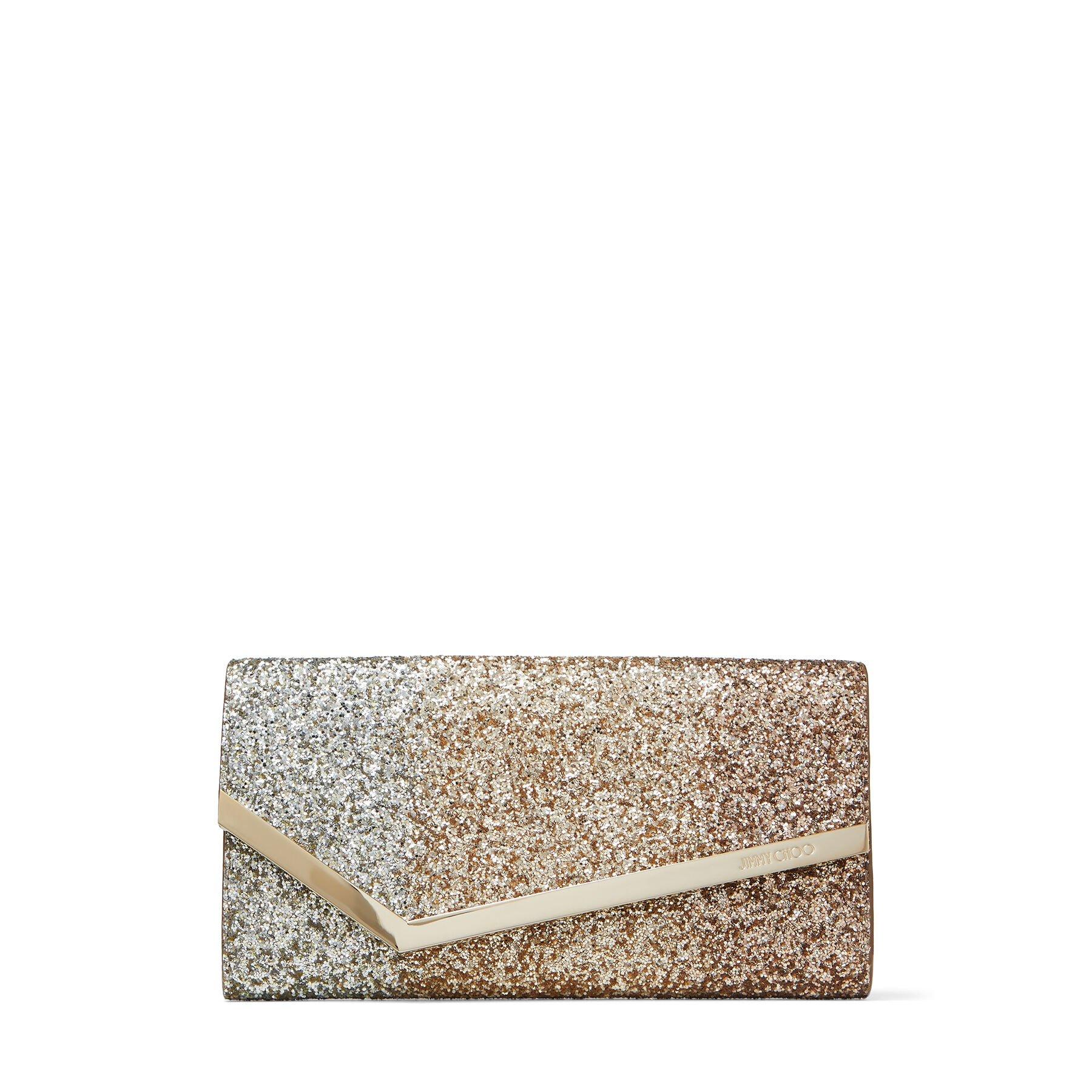 EMMIE - Rose-Gold Dégradé Glitter Leather Clutch Bag