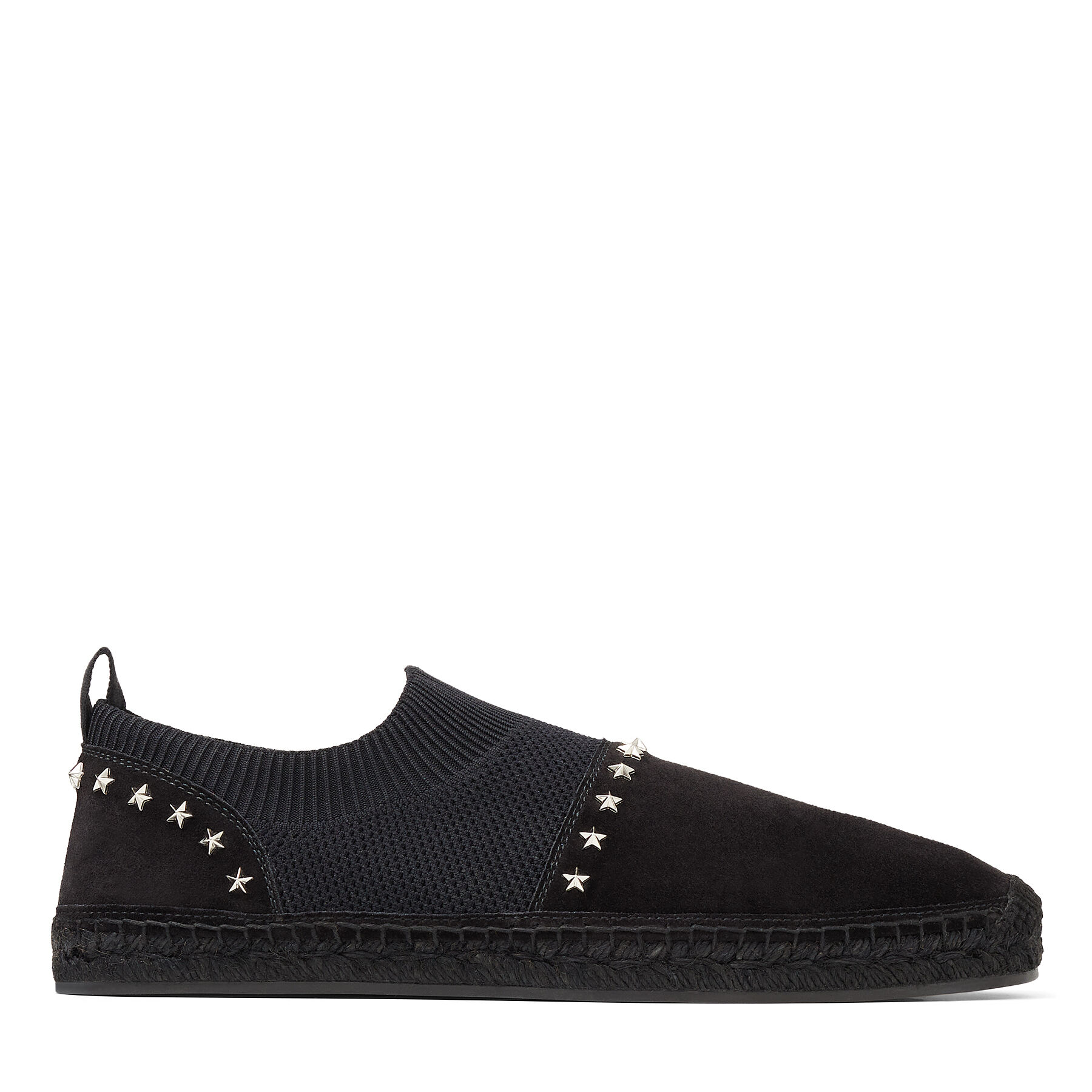 ENZO - Black Knit and Soft Suede Espadrilles with Star Embellishment