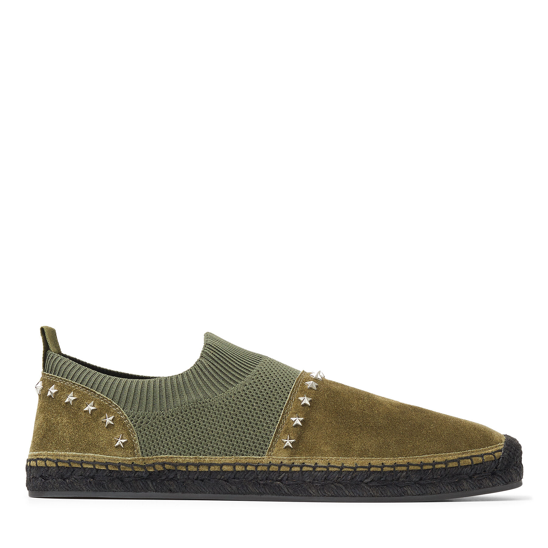ENZO - Verde Knit and Soft Suede Espadrilles with Star Embellishment