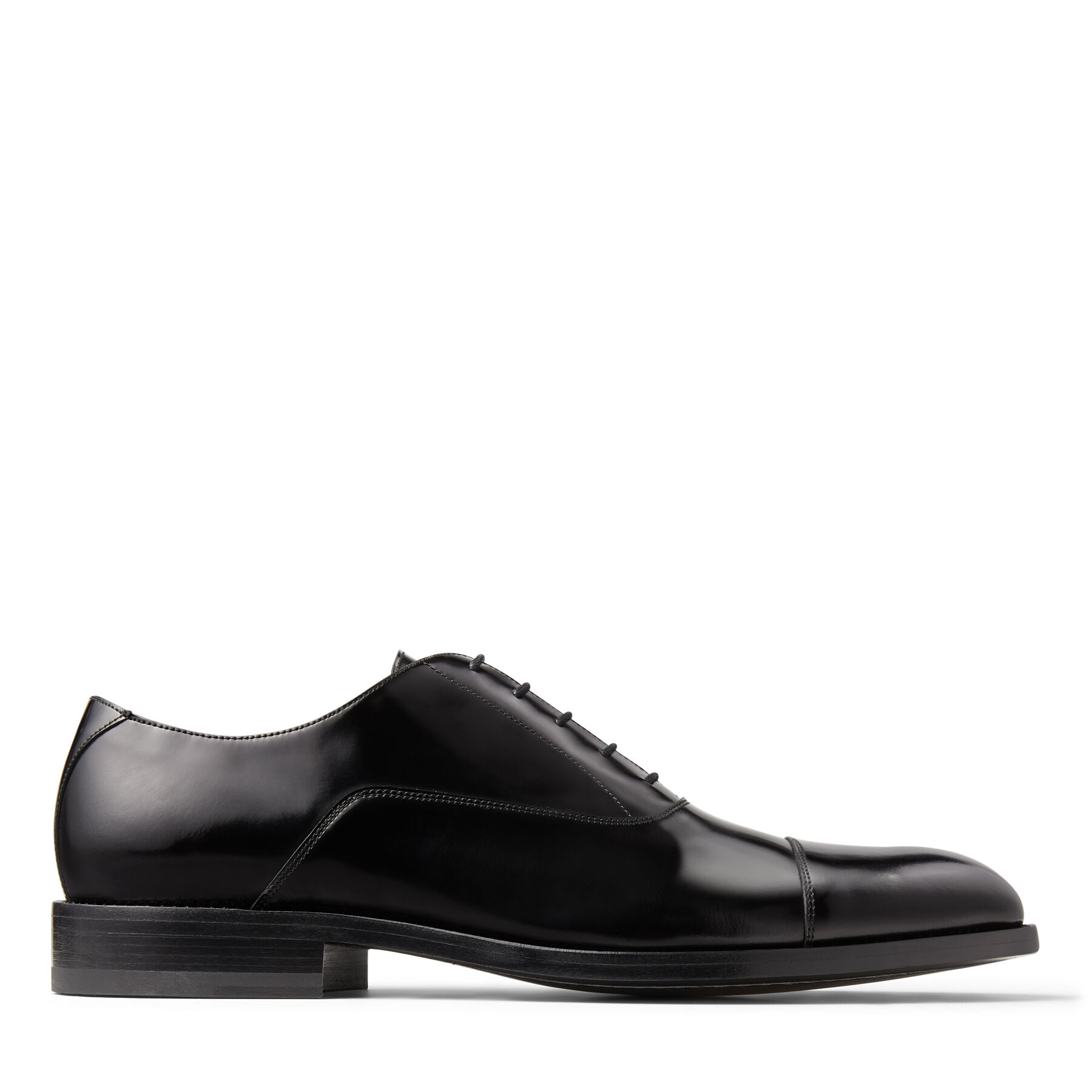 FINNION - Black Brush-Off Leather Oxford Shoes with Crystals