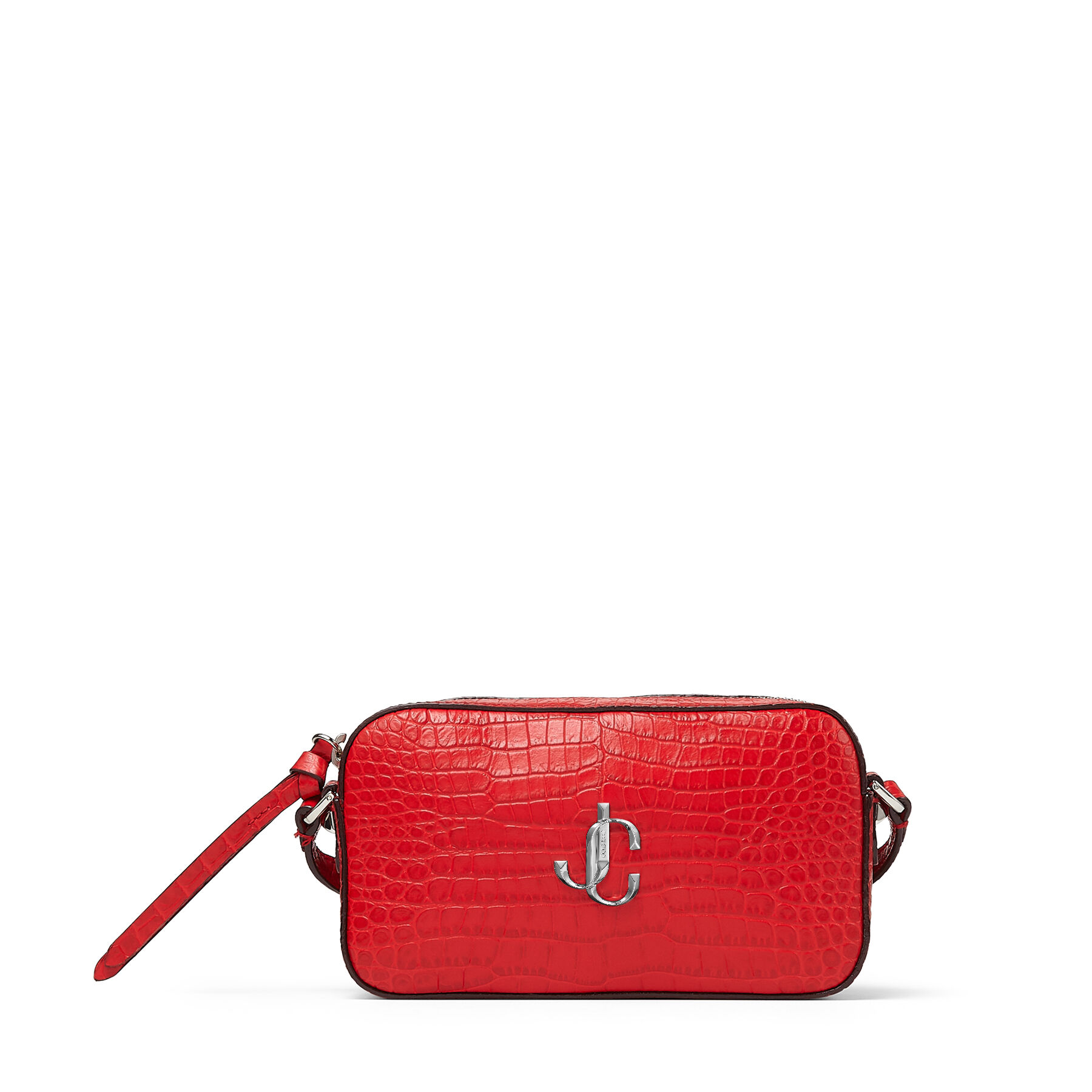 HALE - Royal Red Croc-Embossed Leather Cross-Body Bag with JC Emblem