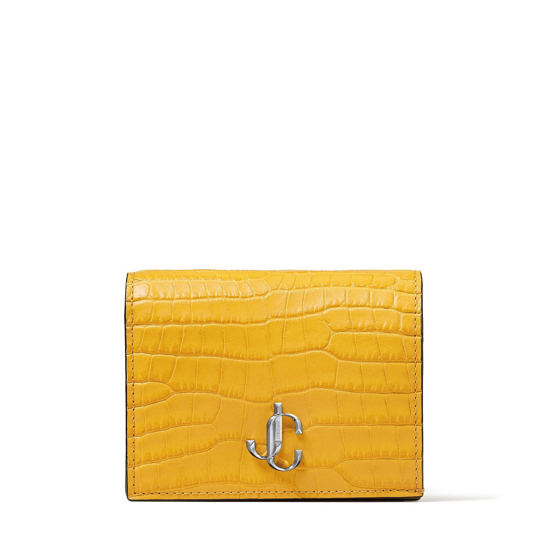 HANNE - Dark Sun Croc-Embossed Leather Wallet with Silver JC Emblem