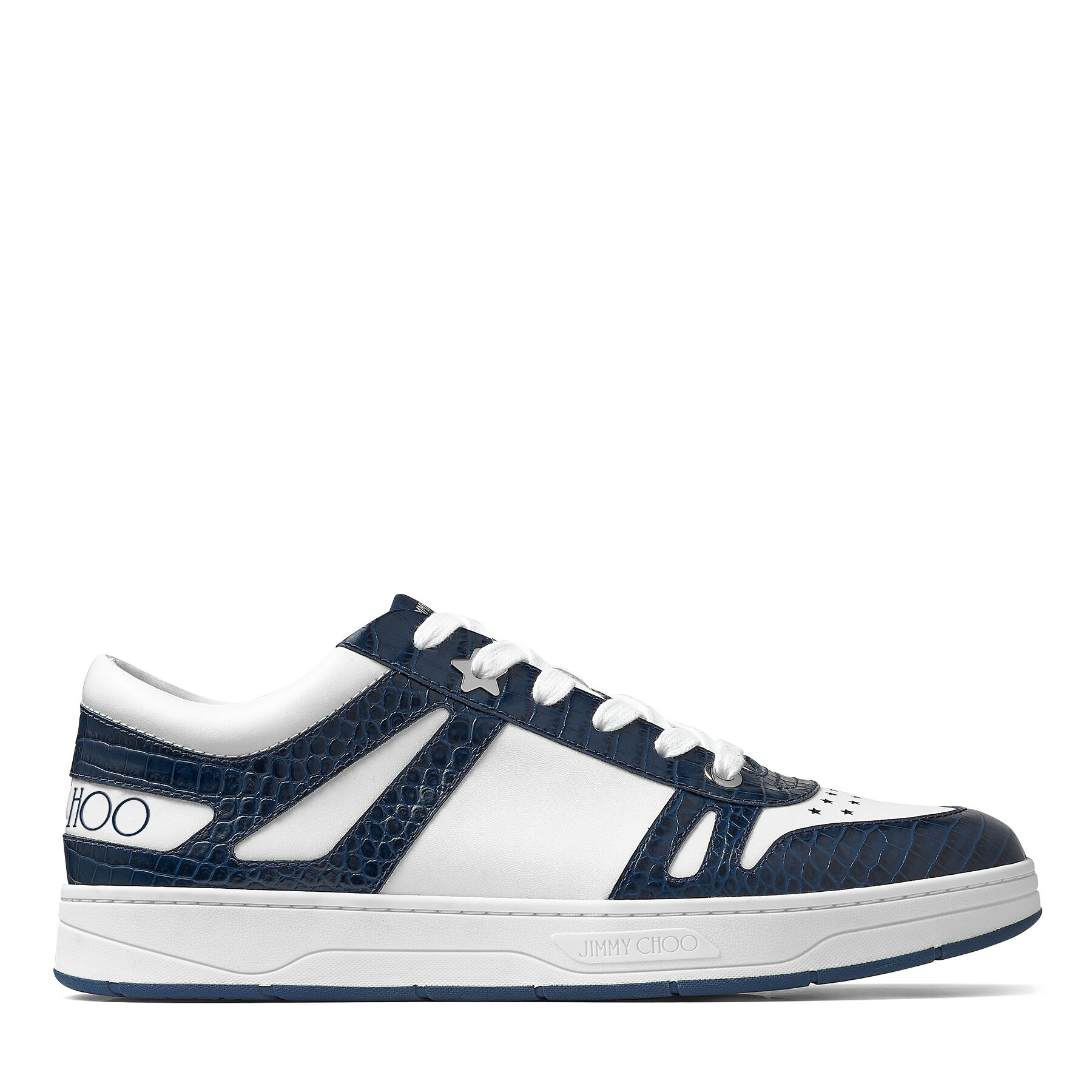 HAWAII/M - Marine Croc-Embossed Leather and White Calf Leather Low Top Trainers