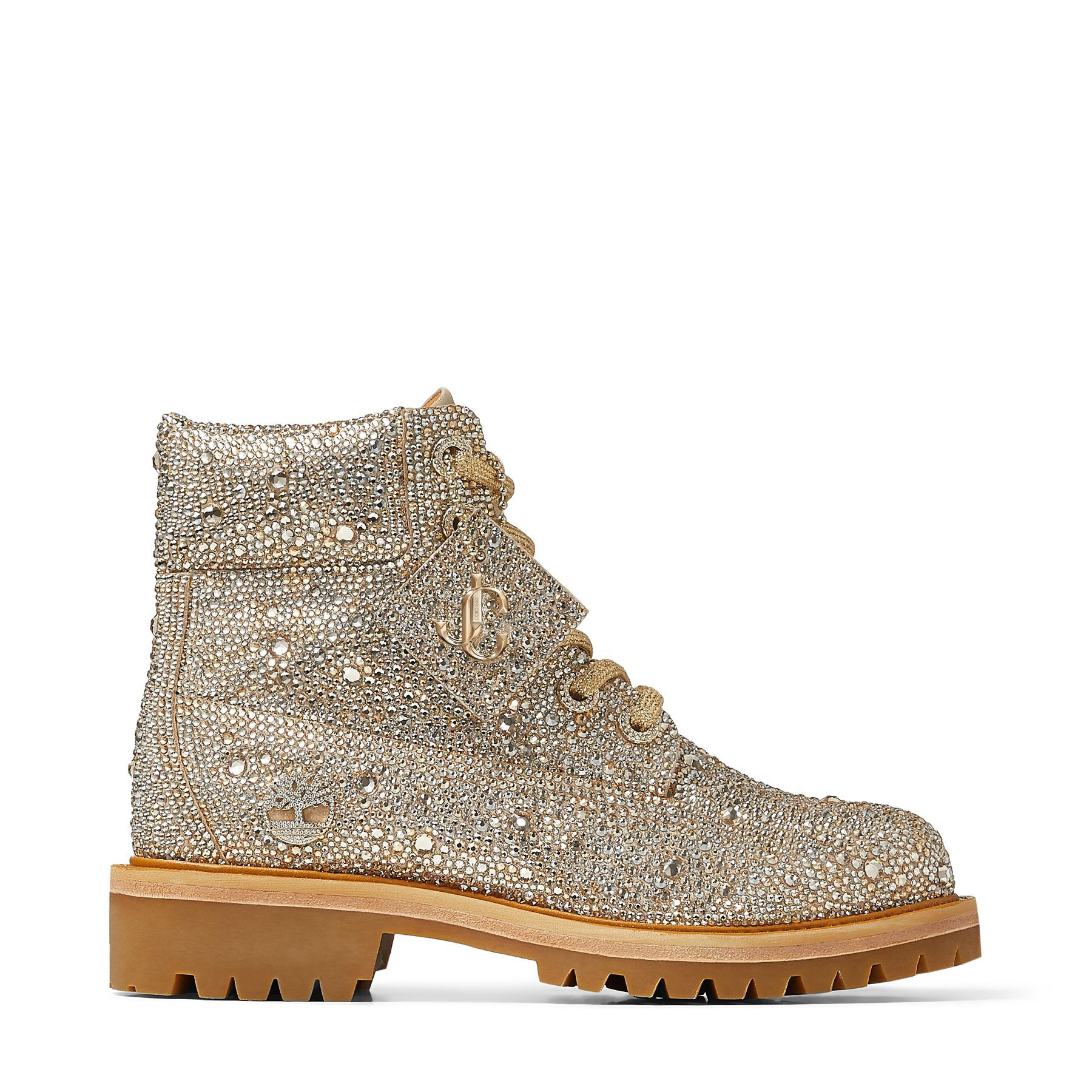 JC X TIMBERLAND/F - Golden Mix Shimmer Suede Boots with Crystal Hotfix