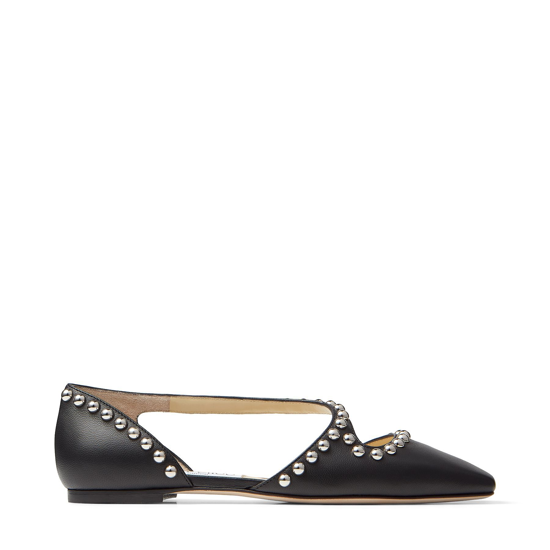 JOEZIE FLAT - Black Nappa Leather Flats with Silver Dome Studs