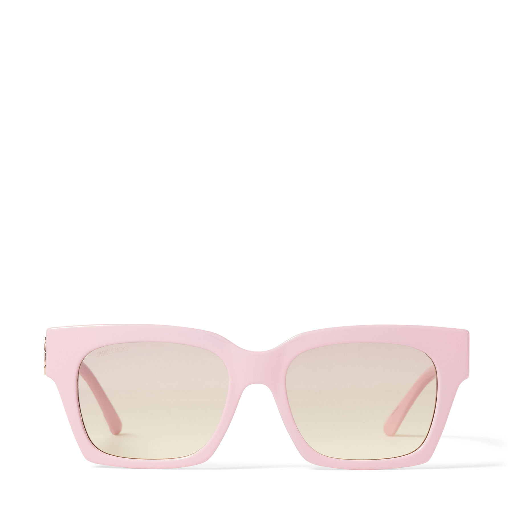JO - Pink Acetate Square-Eye Sunglasses with Gold JC Logo