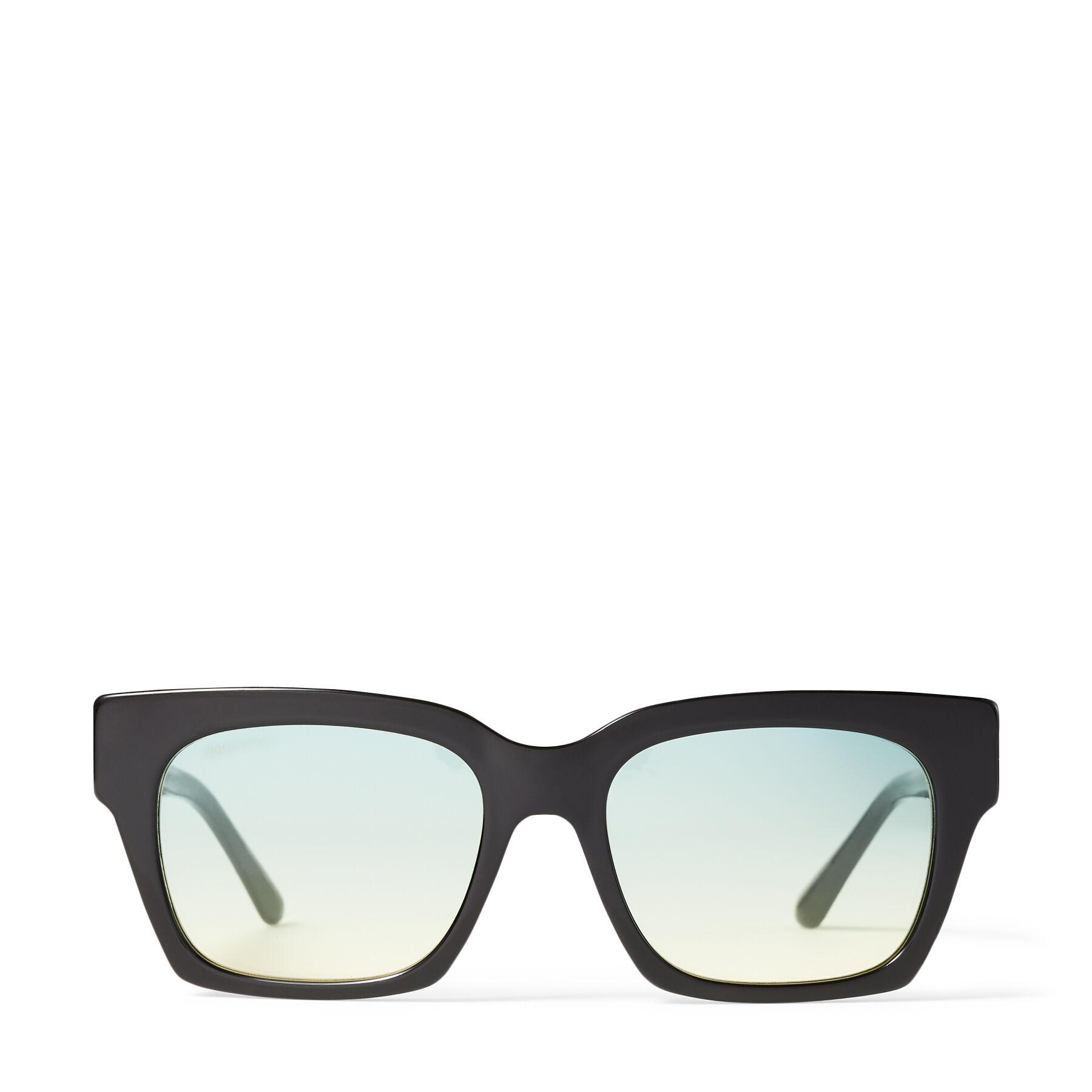JO - Black Acetate Square-Eye Sunglasses with Gold JC Logo