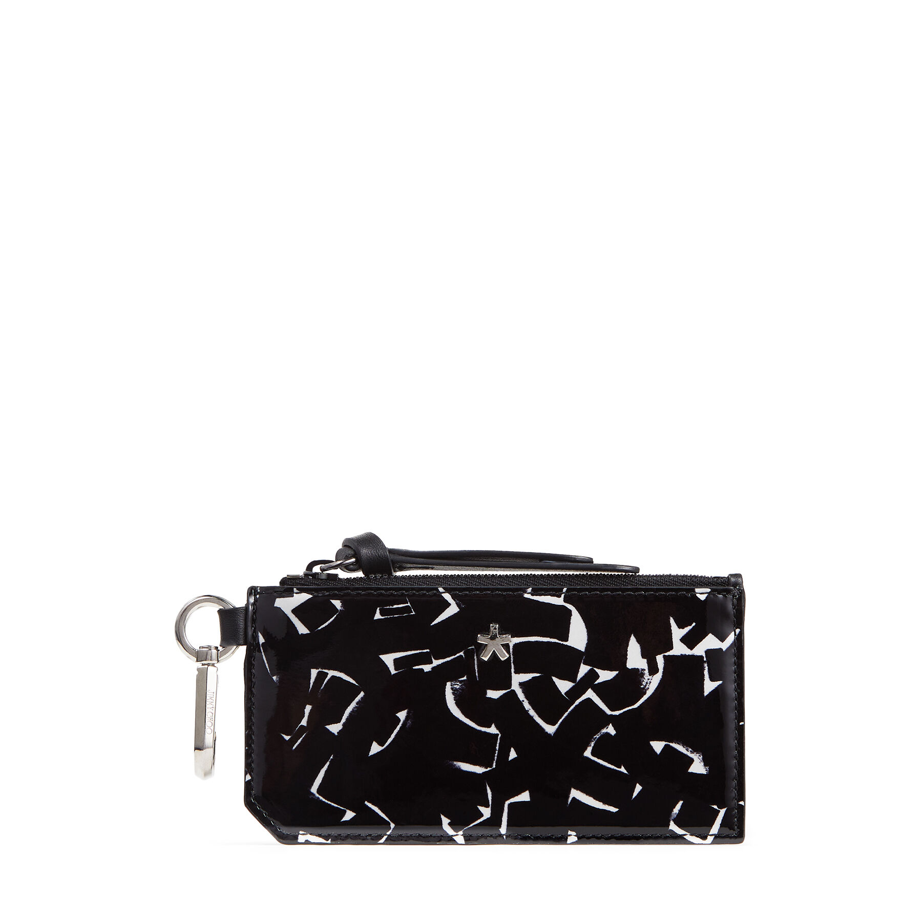 JC / ERIC HAZE LISE - Black and White Artwork Printed Patent Leather Pouch