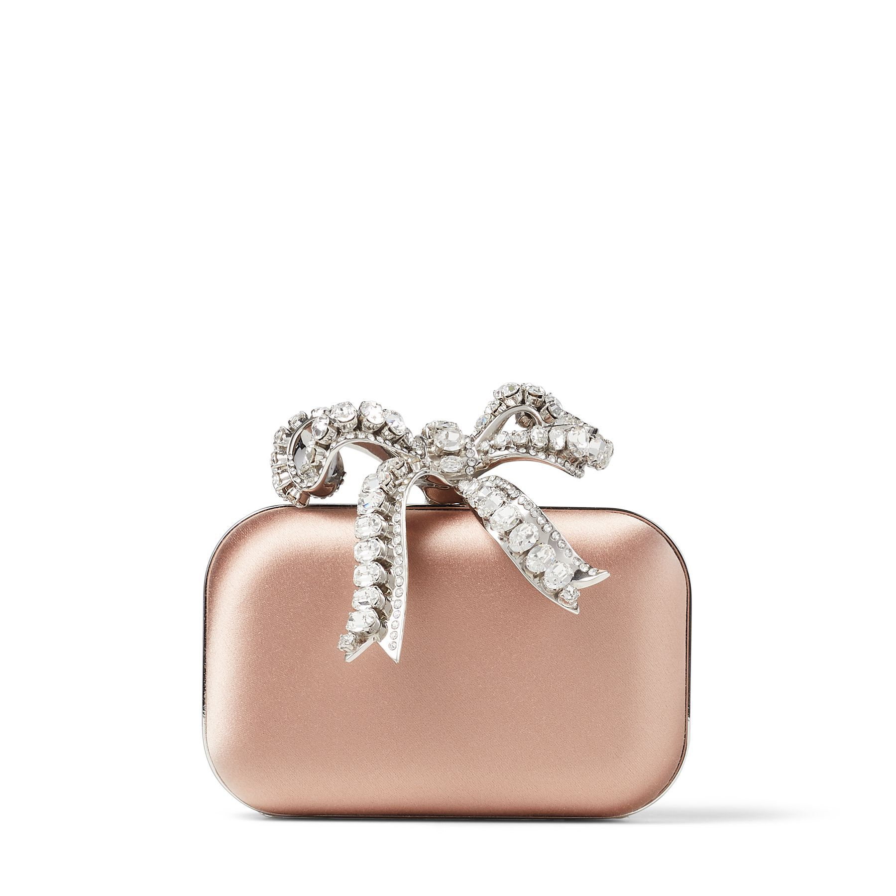 MICRO CLOUD - Ballet Pink Satin Mini Bag with Crystal Bow Clasp