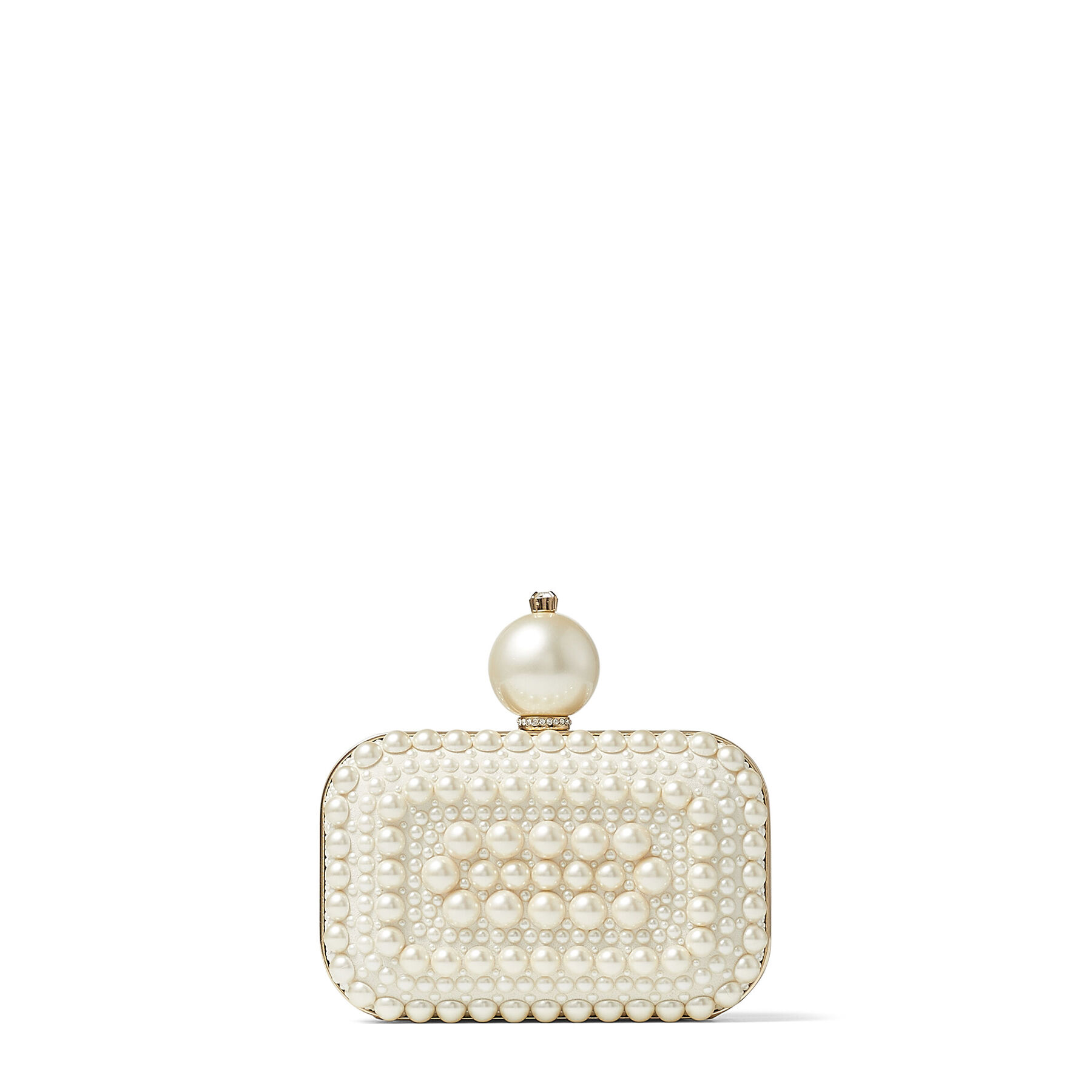 MICRO CLOUD - White Suede Clutch Bag with All-Over Pearl Embellishment