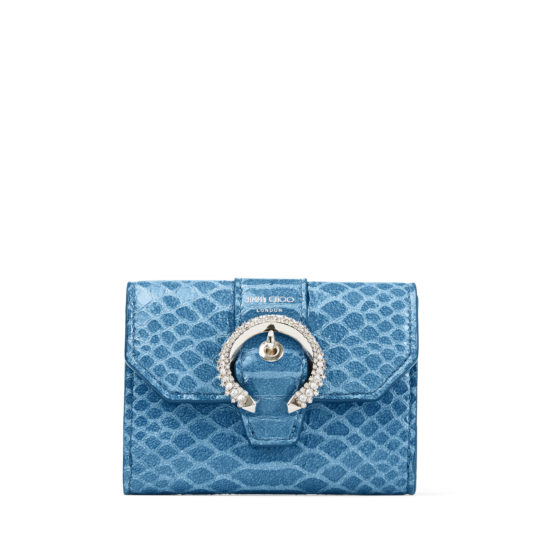 ODILE - Butterfly Blue Gel Snake Printed Leather Wallet with Crystal Buckle