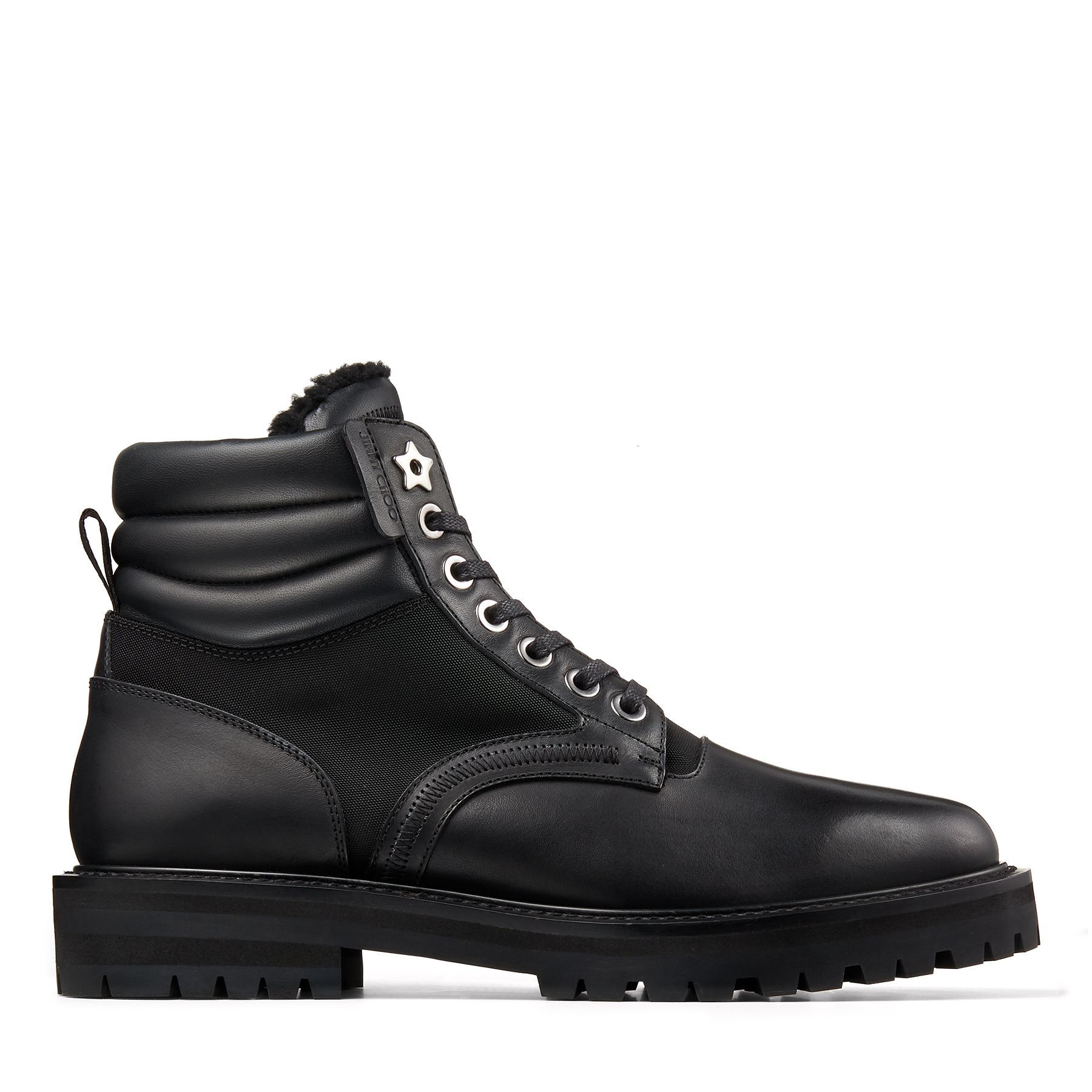 ODIN - Black Shiny Vacchetta Boots with Canvas Panels and Shearling Collar