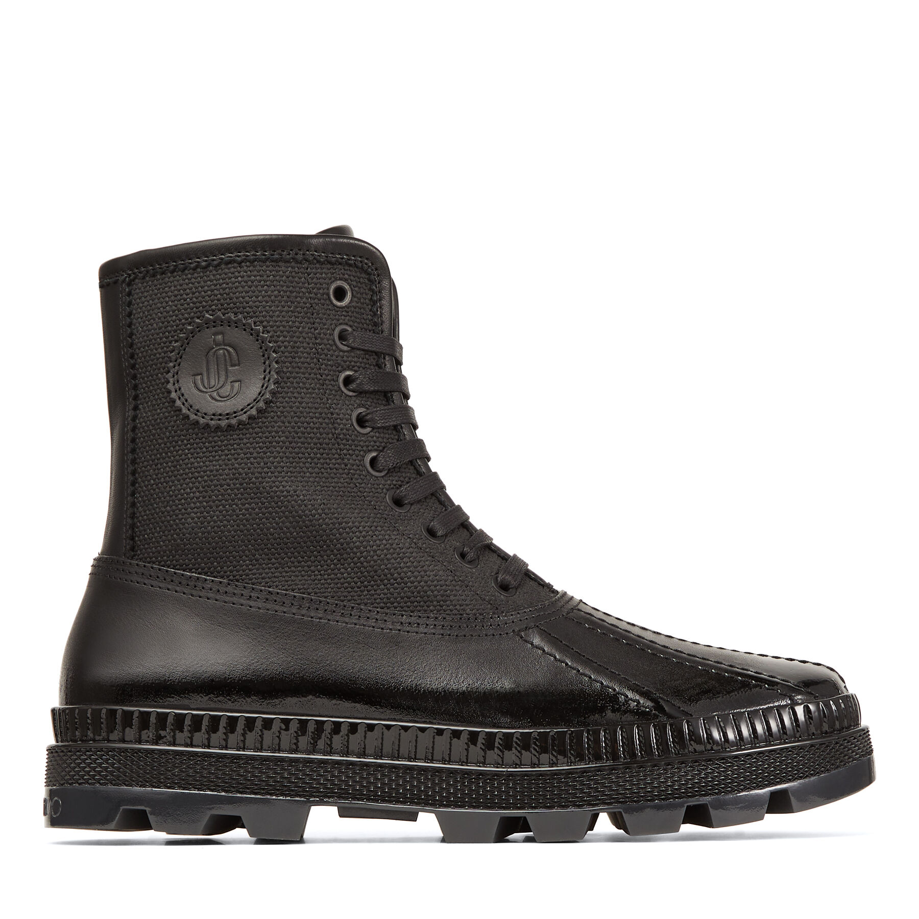 OSKAR/M - Black Vachetta and Waxed Canvas Duck Boots with Lacquered Finish