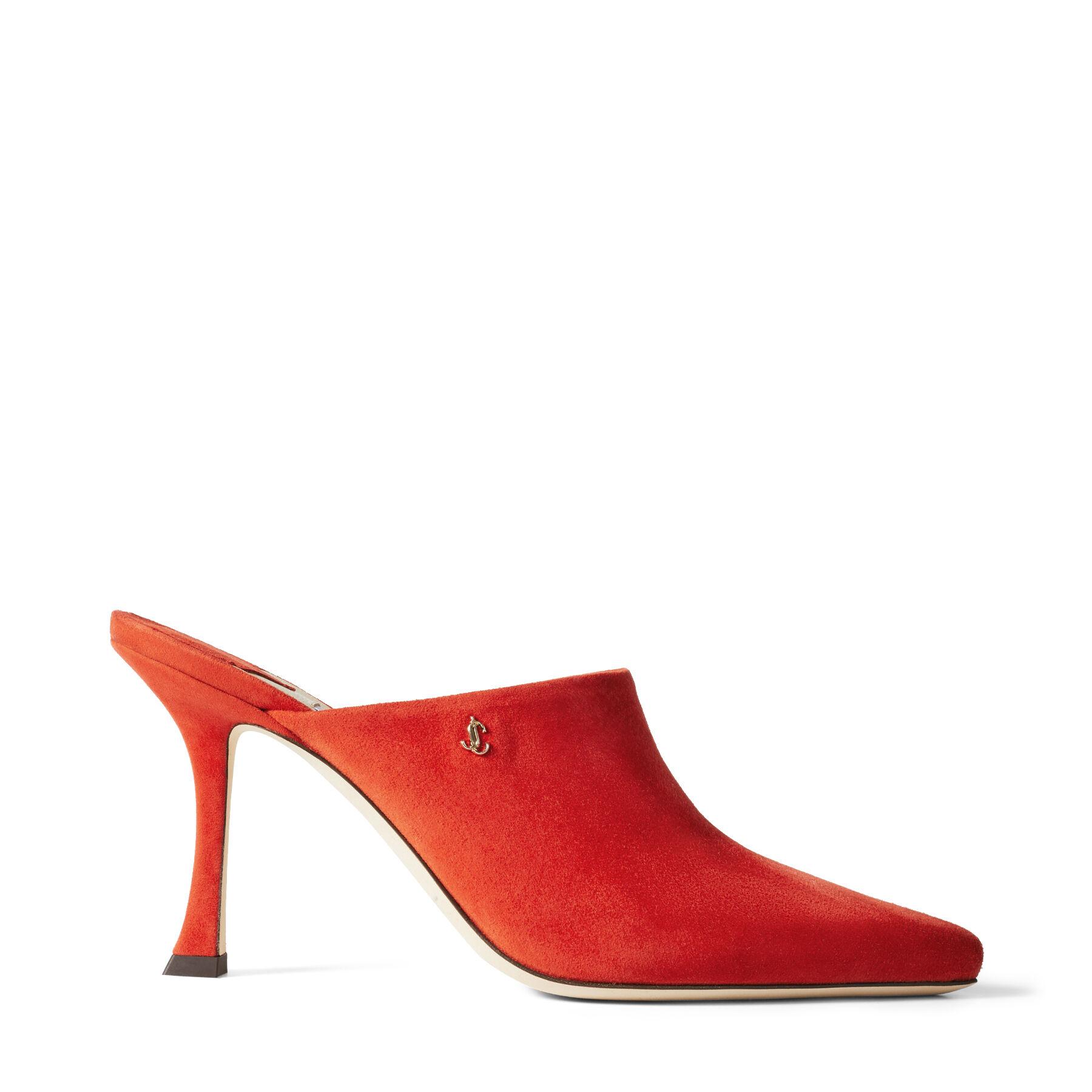 RYA 90 - Mandarin Red Suede Mules