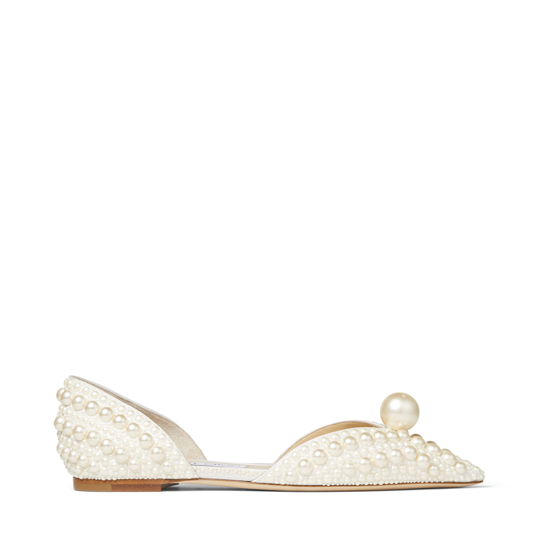 SABINE FLAT - White Satin Flats with All-Over Pearl Embellishment
