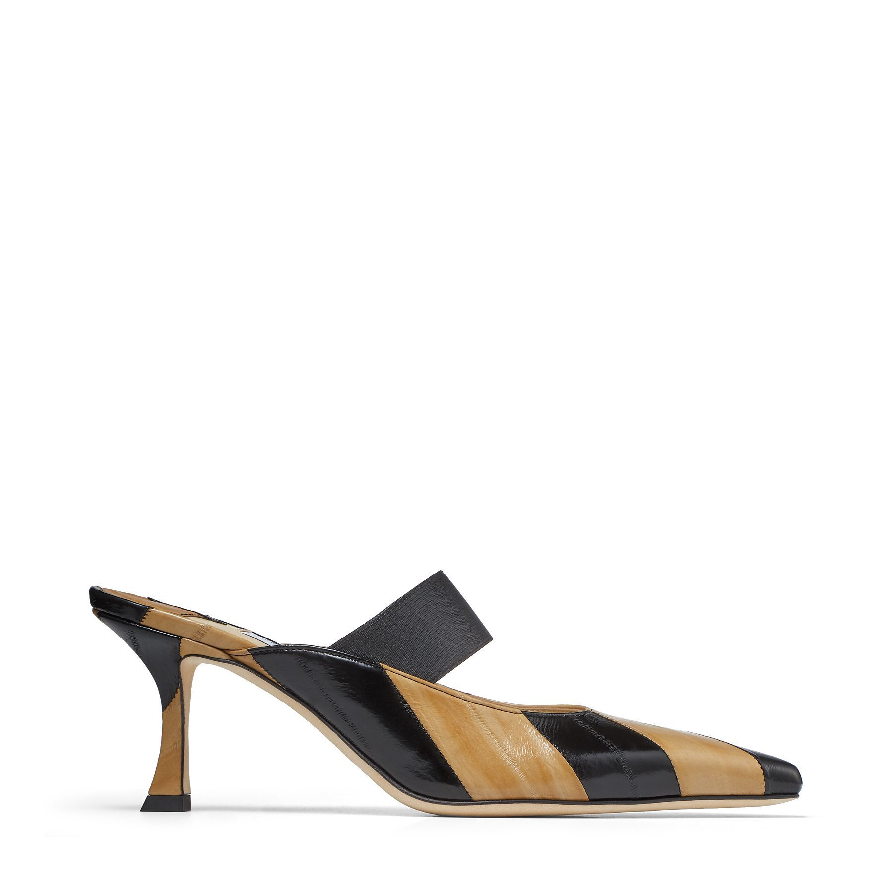SAFFI 70 - Black and Cognac Striped Eel Leather Mules with Elasticated Strap