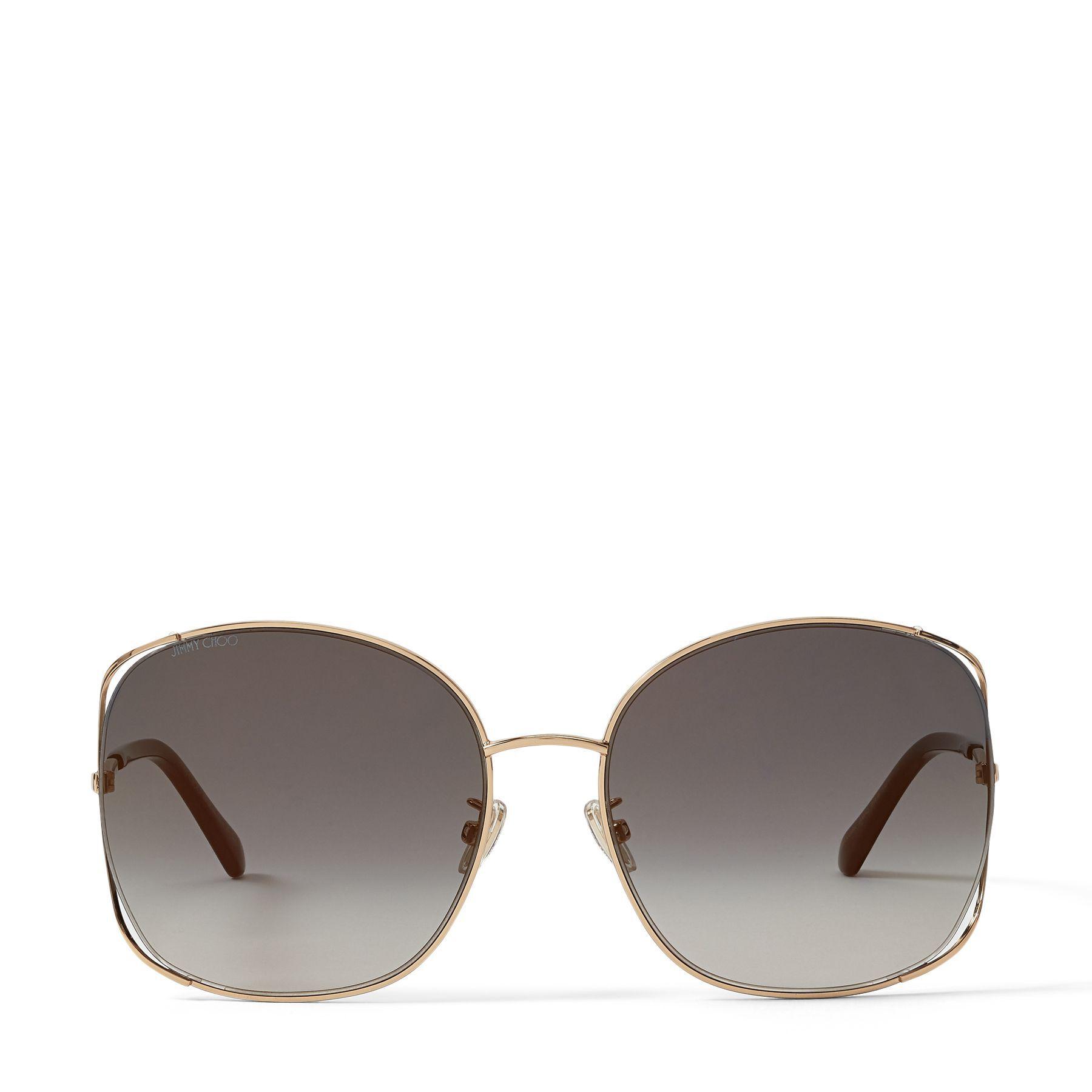 TINKA - Rose Gold Oval-Frame Sunglasses with Crystal Embellishment