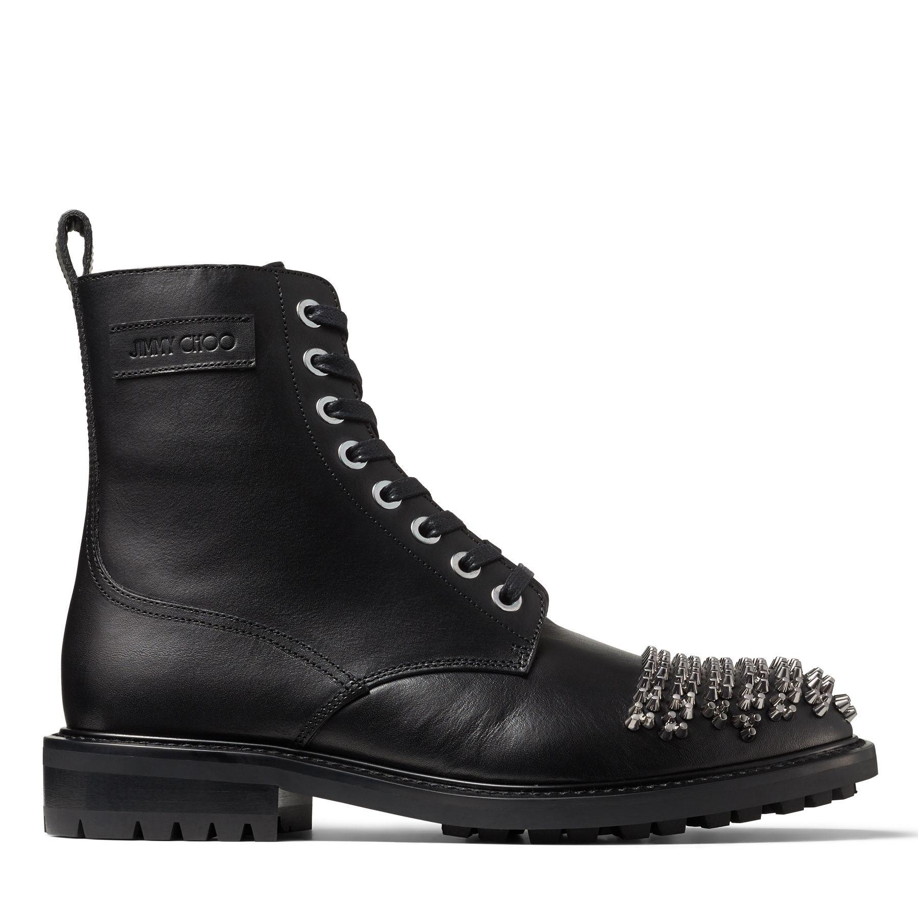 TURING/M - Black Shiny Vacchetta Boots with Studs