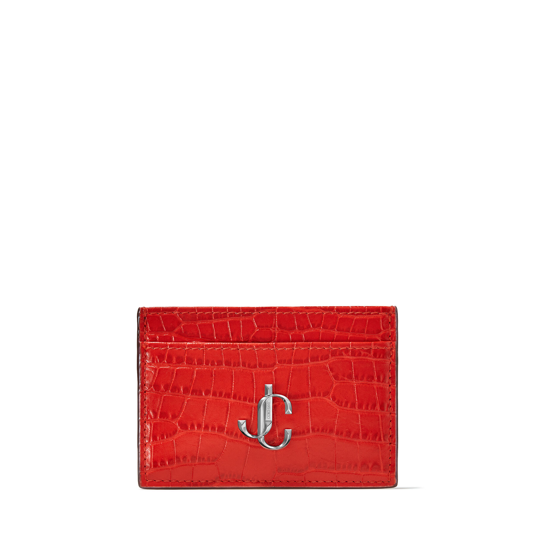 UMIKA - Royal Red Croc-Embossed Leather Card Holder