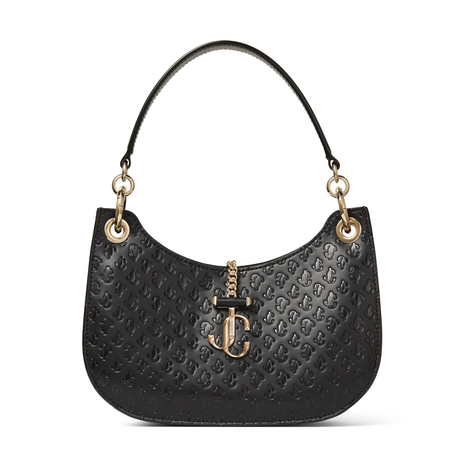 VARENNE HOBO/S - Black Calf Leather, Suede and JC Logo Pattern Hobo Handbag