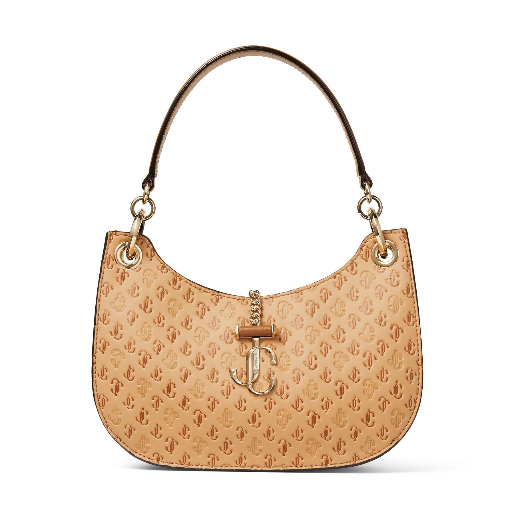 VARENNE HOBO/S - Caramel Calf Leather and JC Logo Pattern Hobo Handbag