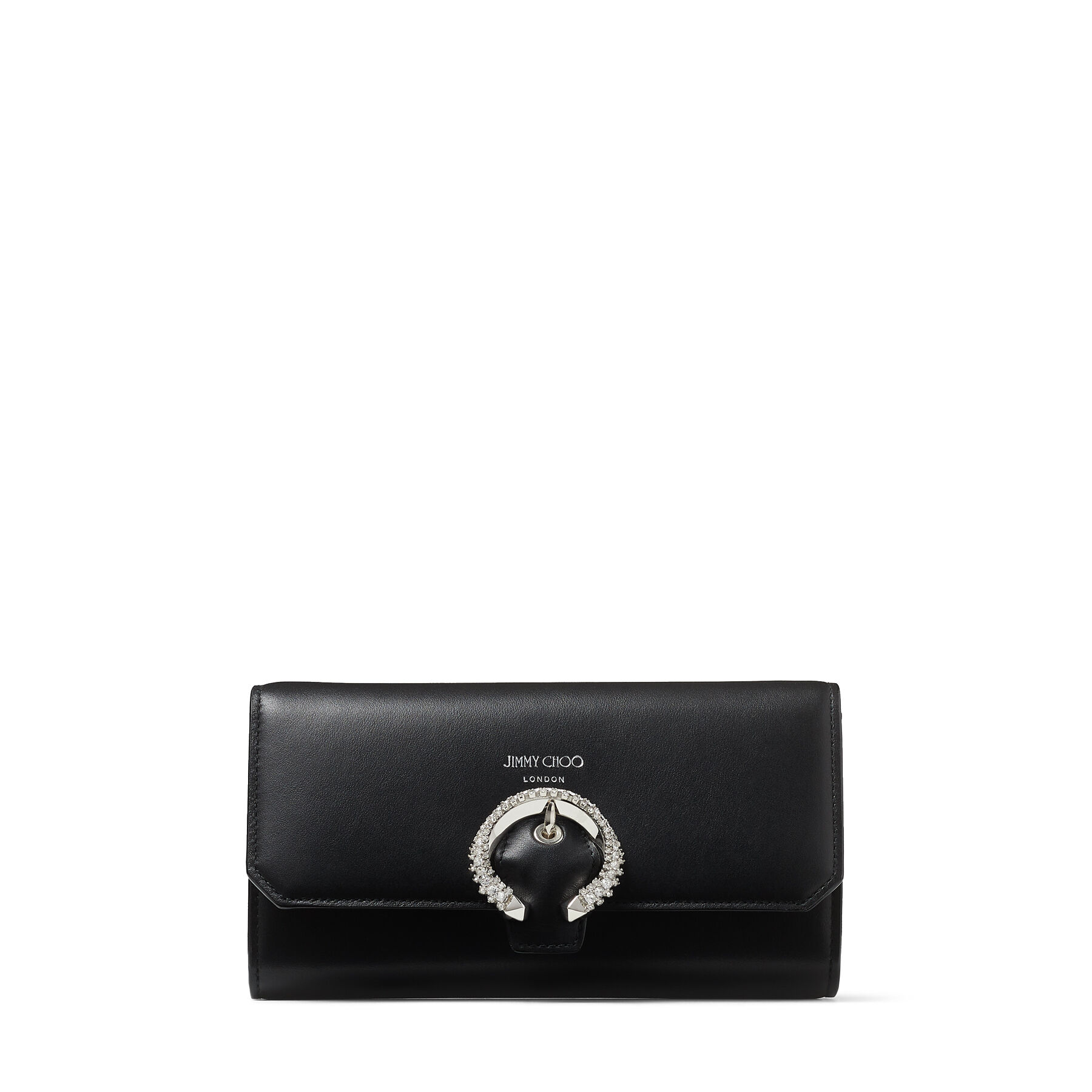 WALLET W/CHAIN - Black Smooth Calf Wallet with Crystal Buckle