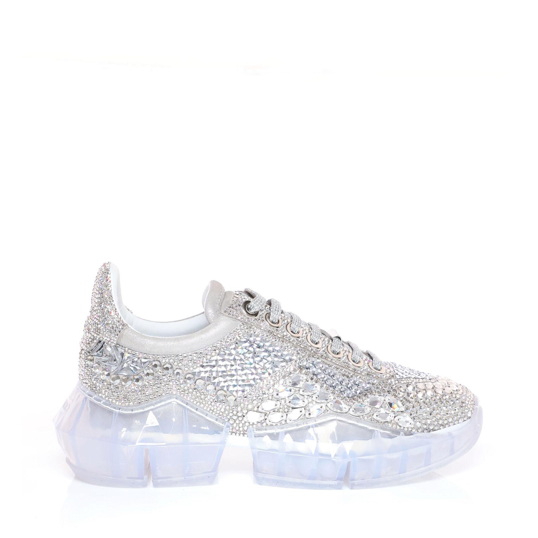 Sneaker aus schimmerndem Wildleder mit Kristall   DIAMOND/F ...