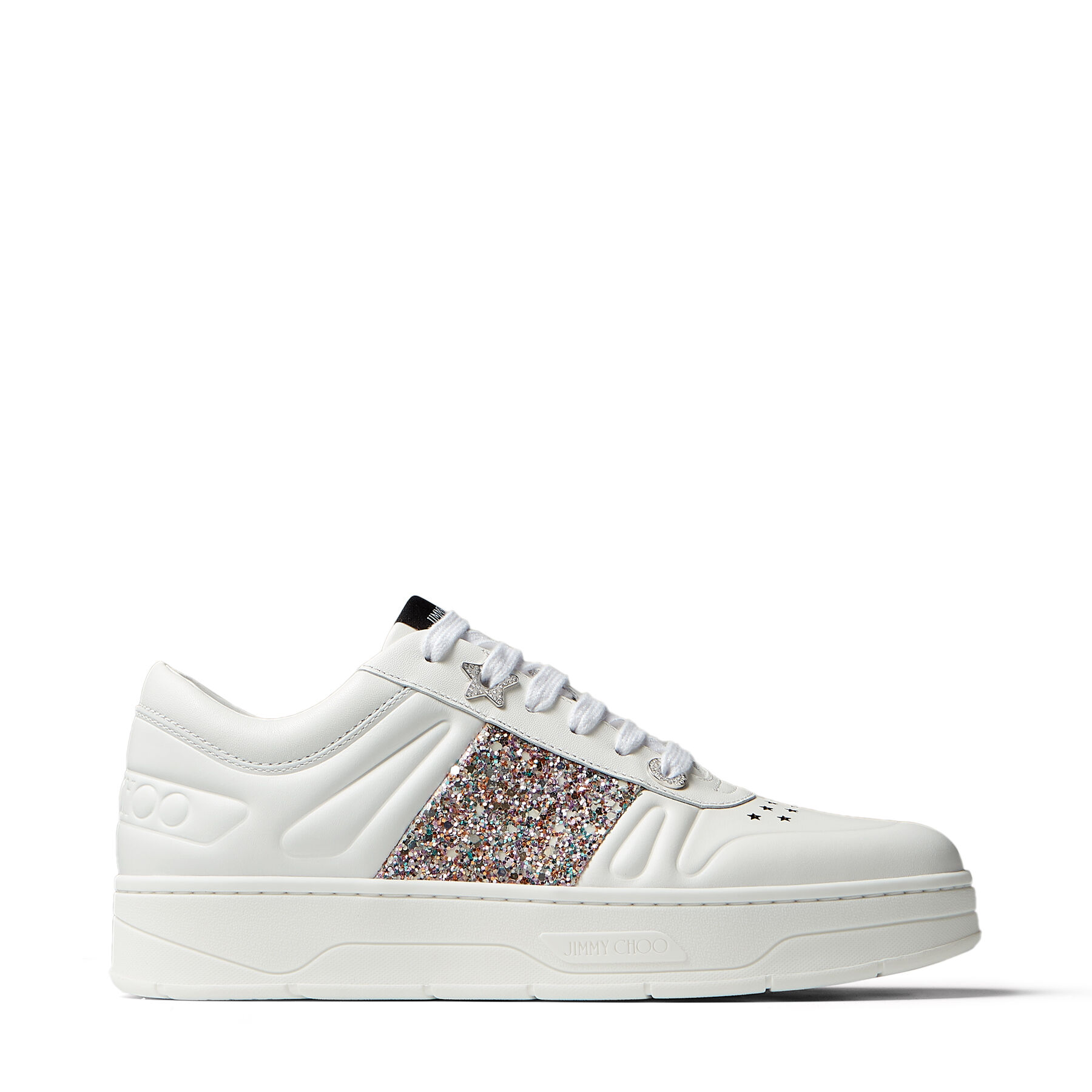 Sneakers zum Schnüren aus weißem Kalbsleder mit Glitzerstreifen in ...