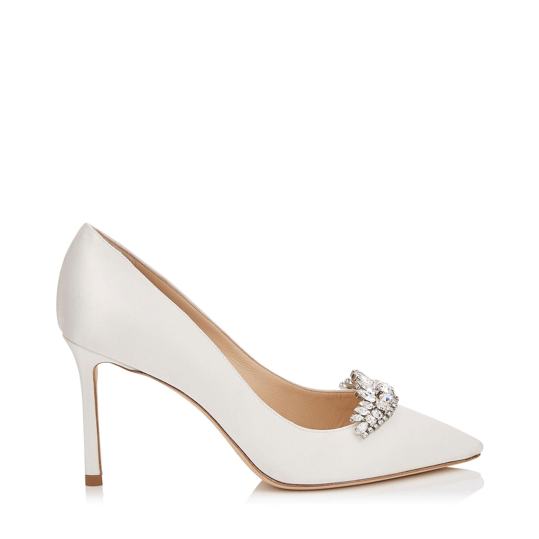 Ivory Satin Pointy Toe Pumps With Crystal Tiara Romy Bridal Jimmy Choo