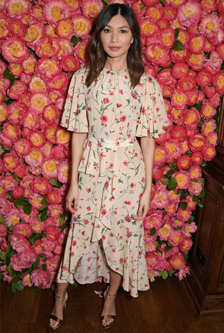 Actress Gemma Chan wearing Jimmy Choo KAYLEE sandals