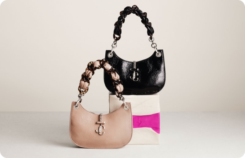 Jimmy Choo women's handbags in 2 styles with tortoiseshell strap