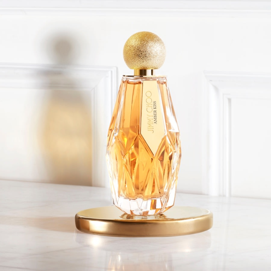 Gold fragrance bottle from the Jimmy Choo women's beauty collection