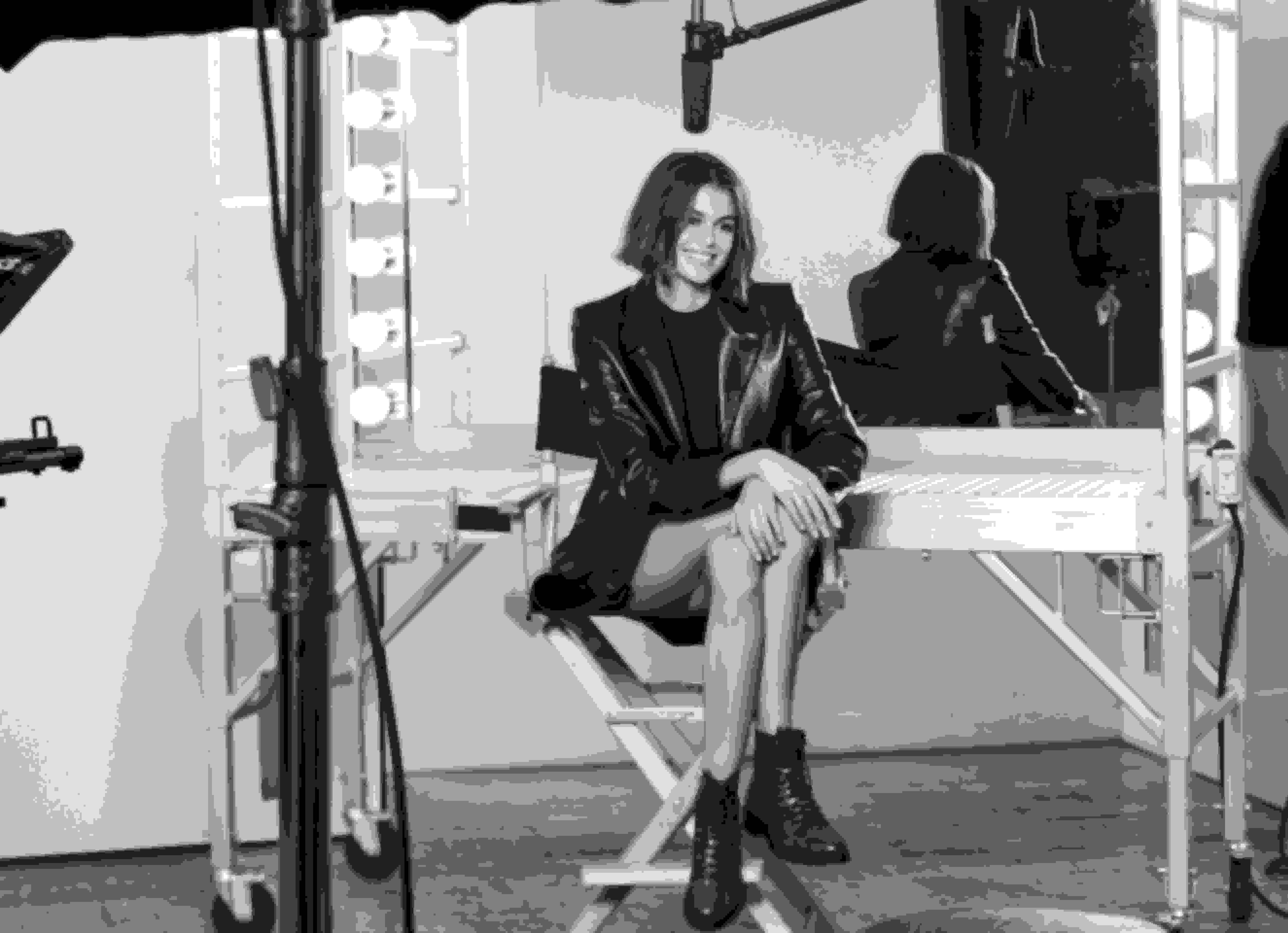 Kaia behind the scenes wearing K-CRUZ