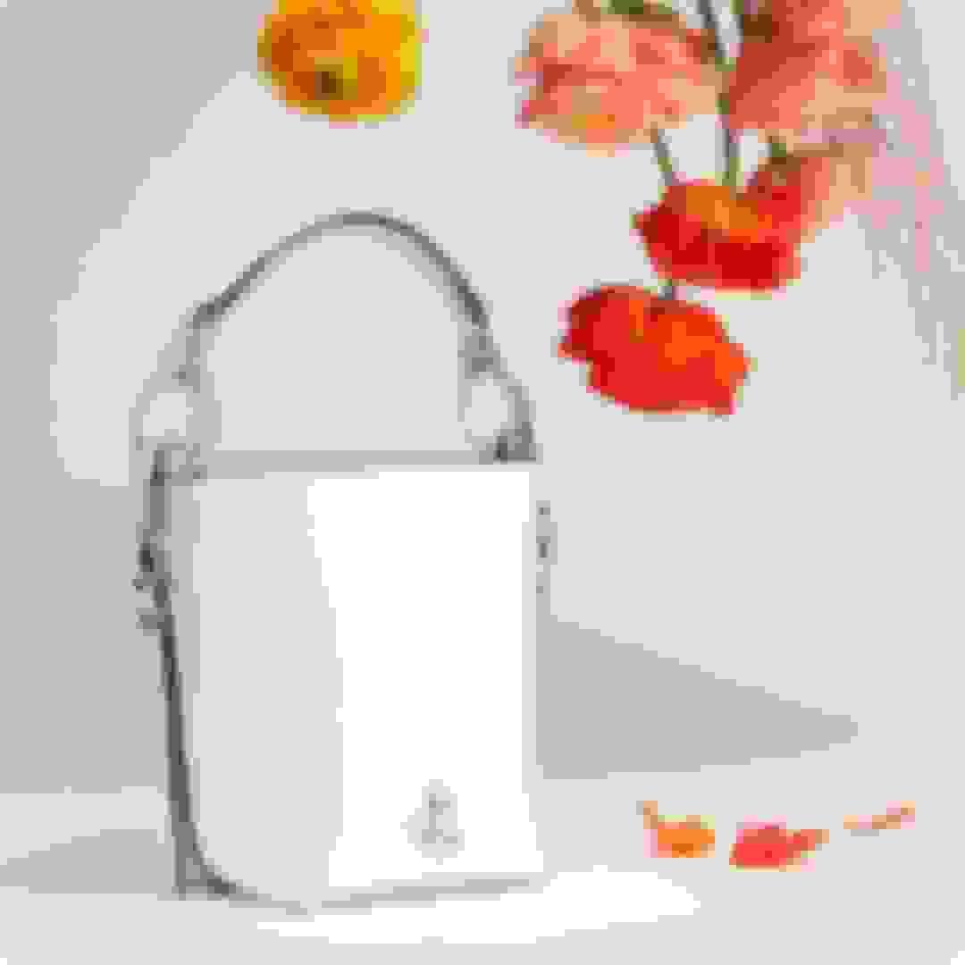 Jimmy Choo women's bucket-style white leather handbag