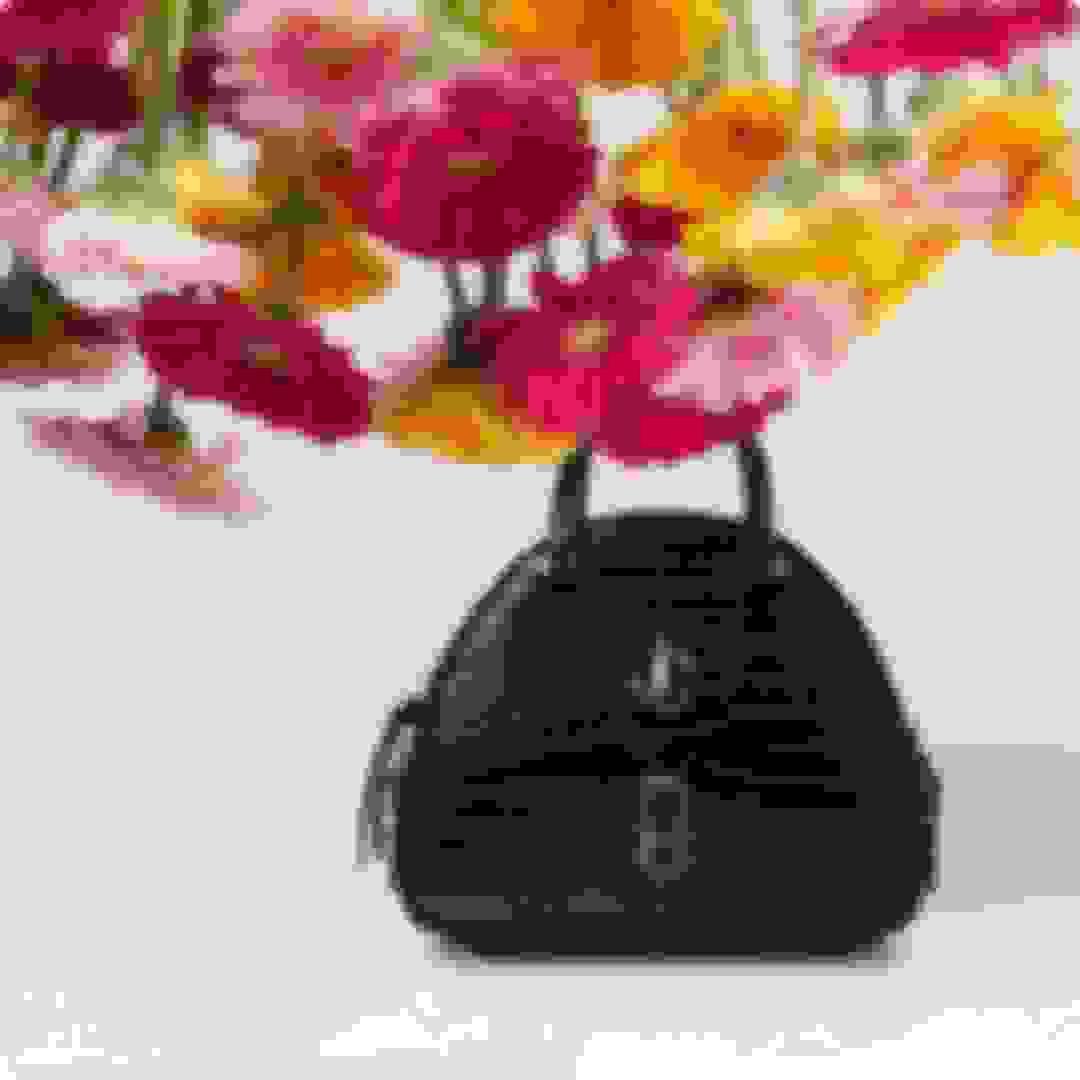 Jimmy Choo women's black leather bowling-style handbag